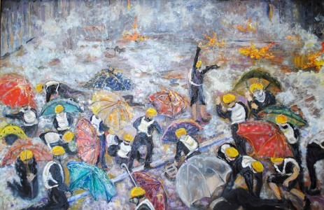 Betty Pethel, Hong Kong Protest, Oil on Canvas