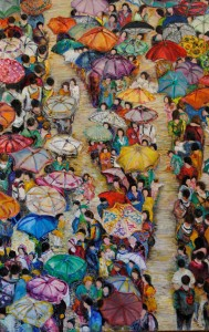 Betty Pethel, In Line, Oil on Canvas