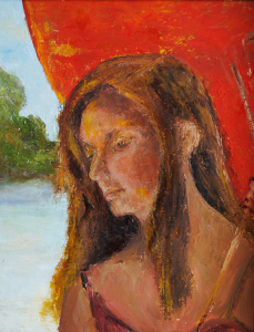 Betty Pethel, Chinese Red Umbrella, Oil on Canvas