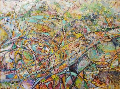 Betty Pethel, Umbrella Swirl, Oil on Canvas